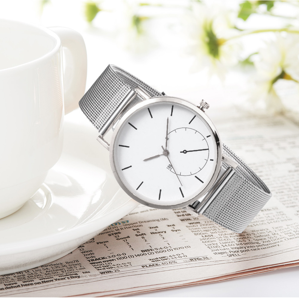 2019 New Fashion Casual watches Womens Men  Womens Classic Quartz Stainless Steel Wrist Watch Bracelet Watches