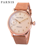 Fashion Parnis 44mm Yellow Dial Mechanical Hand Wind Men's Watches Leather Band Hand Winding Stainless Steel Gold Case Men Watch