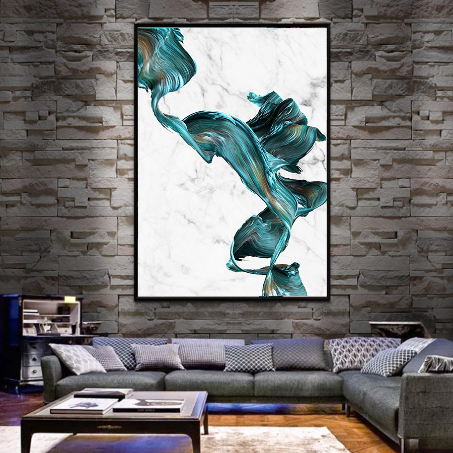 2 - Cuadro Colorful Abstract Pictures Marble Canvas Wall Art Posters and Prints  Modern Fashion Art Paintings Home Wall Decoration