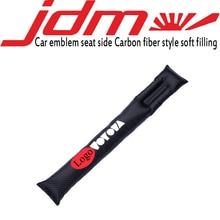 Embroidery car emblem Carbon fiber style Seat crevice soft filling for toyota honda nissan mazda mitsubishi suzuki accessories цена и фото