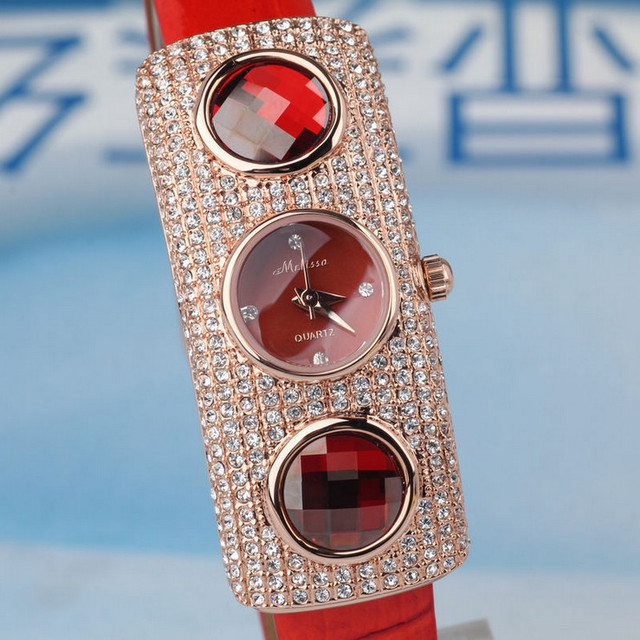 Top Fashion MELISSA Exaggerated Rectangle Watches Women Sparkly Crystals Jewelry Wrist watch Real Leather Feminino Montre MP360