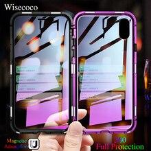 Магнитная адсорбции Металл флип чехол для iPhone Xs Max X 10 8 7 плюс Роскошный ультра магнит полная защита 360 закаленное Стекло