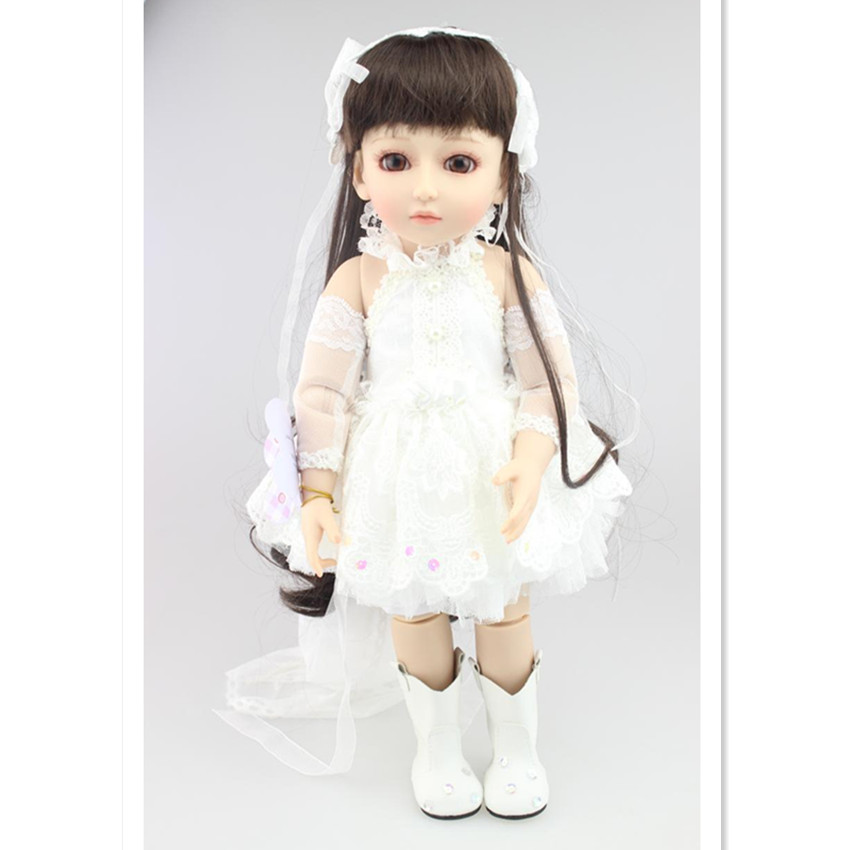 18 SD/BJD Doll Princess Doll with Clothes, 45 CM Lifelike Girls Doll Toys for Children's New Year Gift Free Shipping 1 3rd scale 65cm bjd nude doll bazael bjd sd doll boy with face up not included clothes wig shoes and accessories
