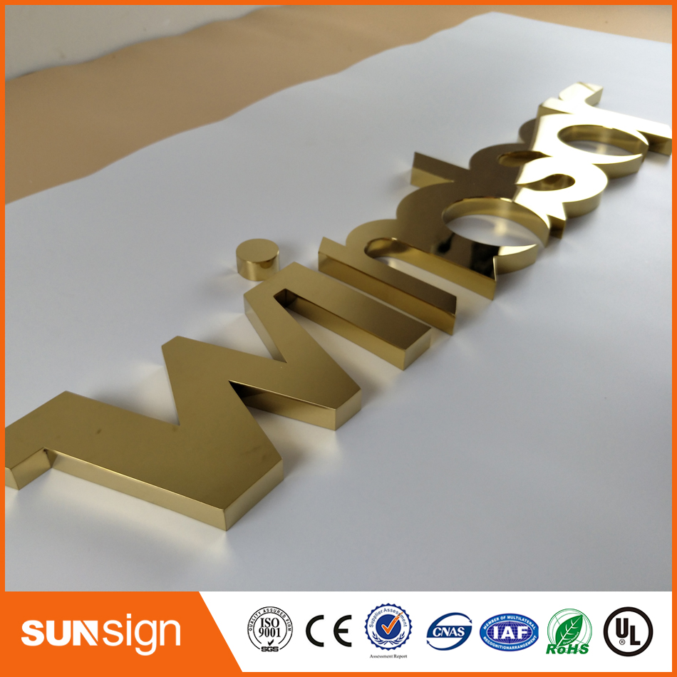 CustomTitanized Golden Color Stainless Steel 3D Letters