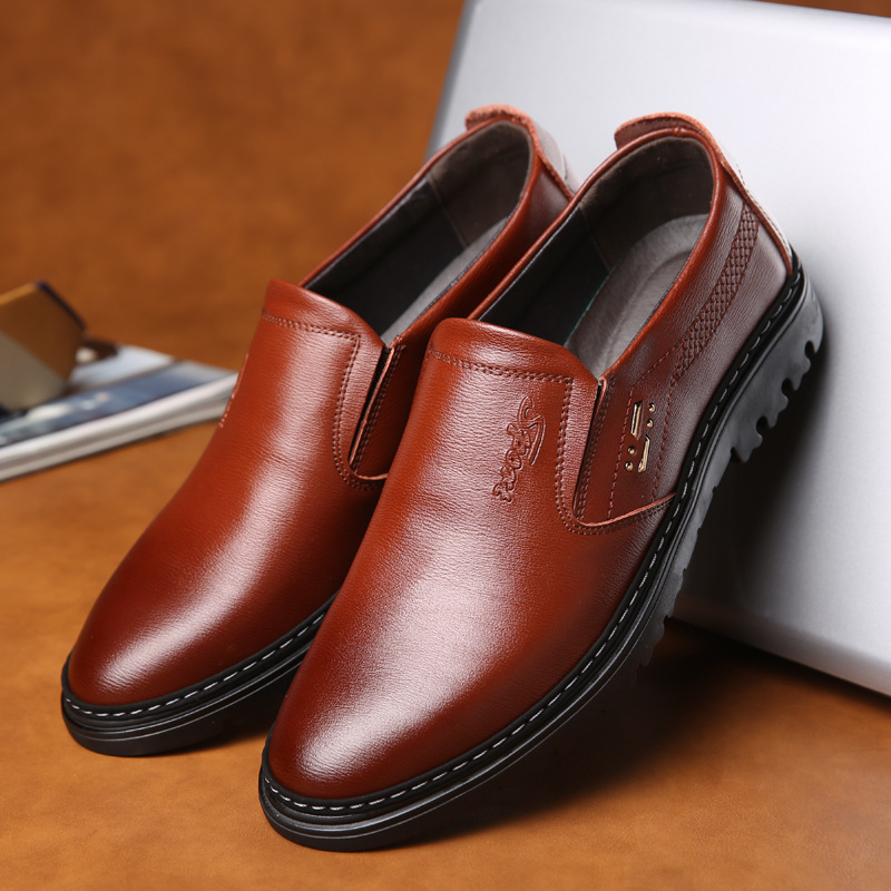 Men's Shoes Ingenious Men Shoes Genuine Leather Loafers Shoes Cow Leather Loafers Round Head Breathable Solid Casual Shoes Set Of Feet Rubber Shoes