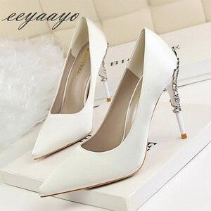 Image 2 - Sapato feminino de salto alto fino ponta fina, sapato sensual de casamento para mulheres, branco, primavera/outono, 2019 saltos altos