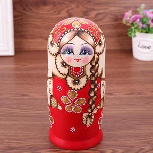Image 2 - Juego de muñecas rusas con trenza roja de 7 uds, Matryoshka hecha a mano de madera, regalos artesanales
