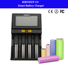 Miboxer C4 LCD Display Smart Battery Charger for Li-ion IMR ICR LiFePO4 18650 14500 26650 21700 AAA Batteries 100-800mAh 1.5A