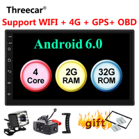 2GB+32GB Android 6.0 GPS Navigation Wifi 4G Bluetooth 2 din android Car Radio Universal Double 2Din 7'' Audio Stereo MP5 Player