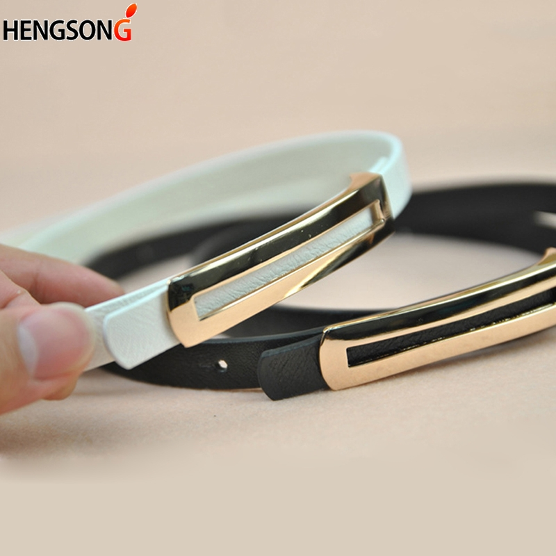 Luxury Metal Buckle Thin Belt For Women Classic Wild Minimalist Thin Waist Belt Waistband Cummerbund For Apparel Accessories