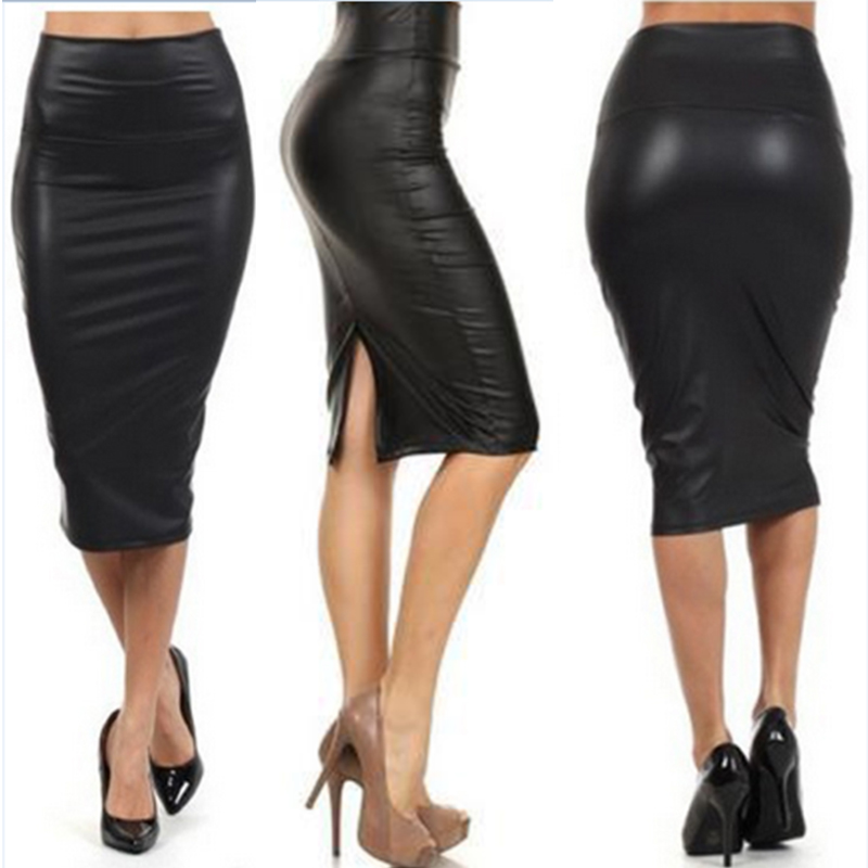 Women PU Faux Leather Bodycon Skirt Sexy Autumn High Waist Midi Skirts Plus Size Pencil Slim Split Skirt Clubwear