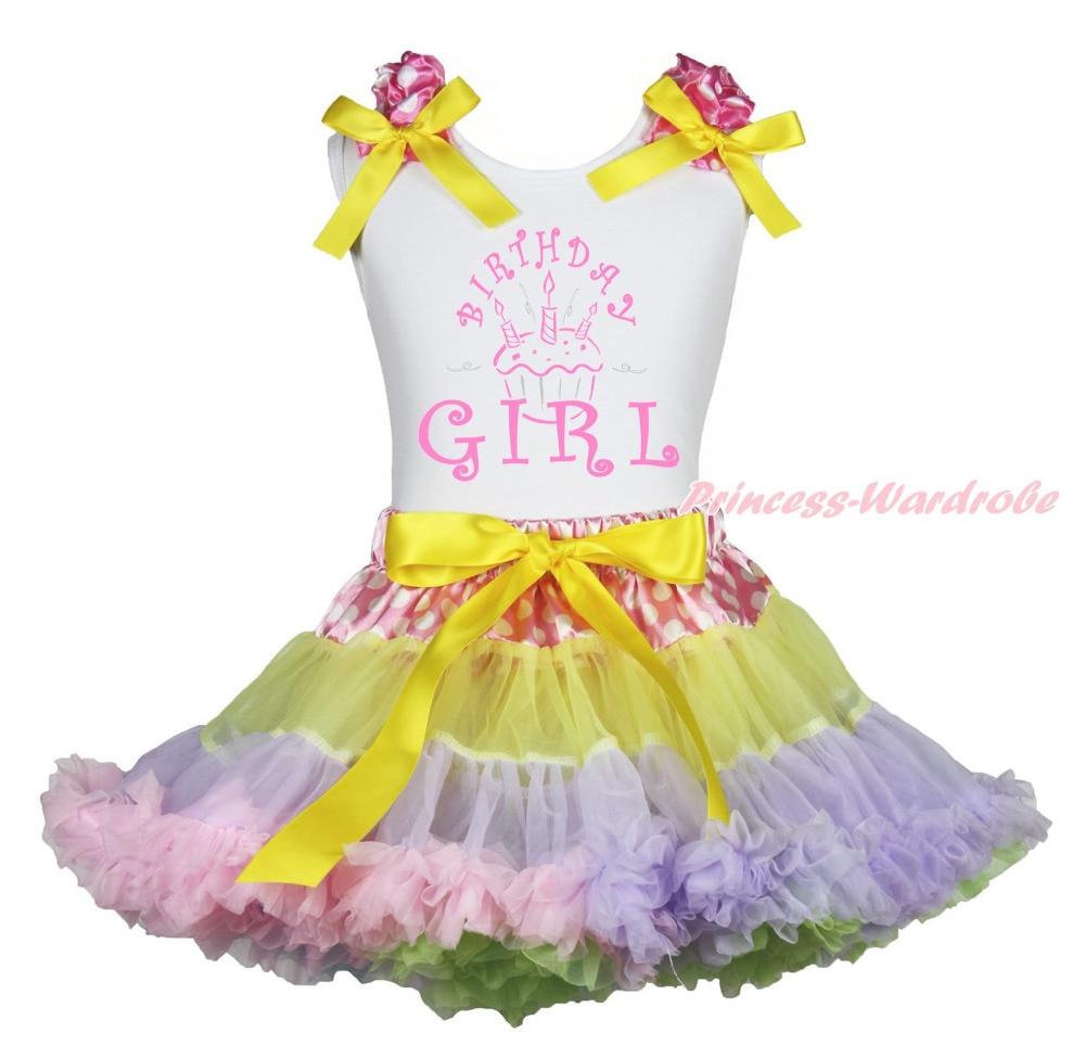 ФОТО Birthday Cupcake Girl White Top Shirt Dot Waist Rainbow Skirt Outfit Set 1-8Year MAPSA0855