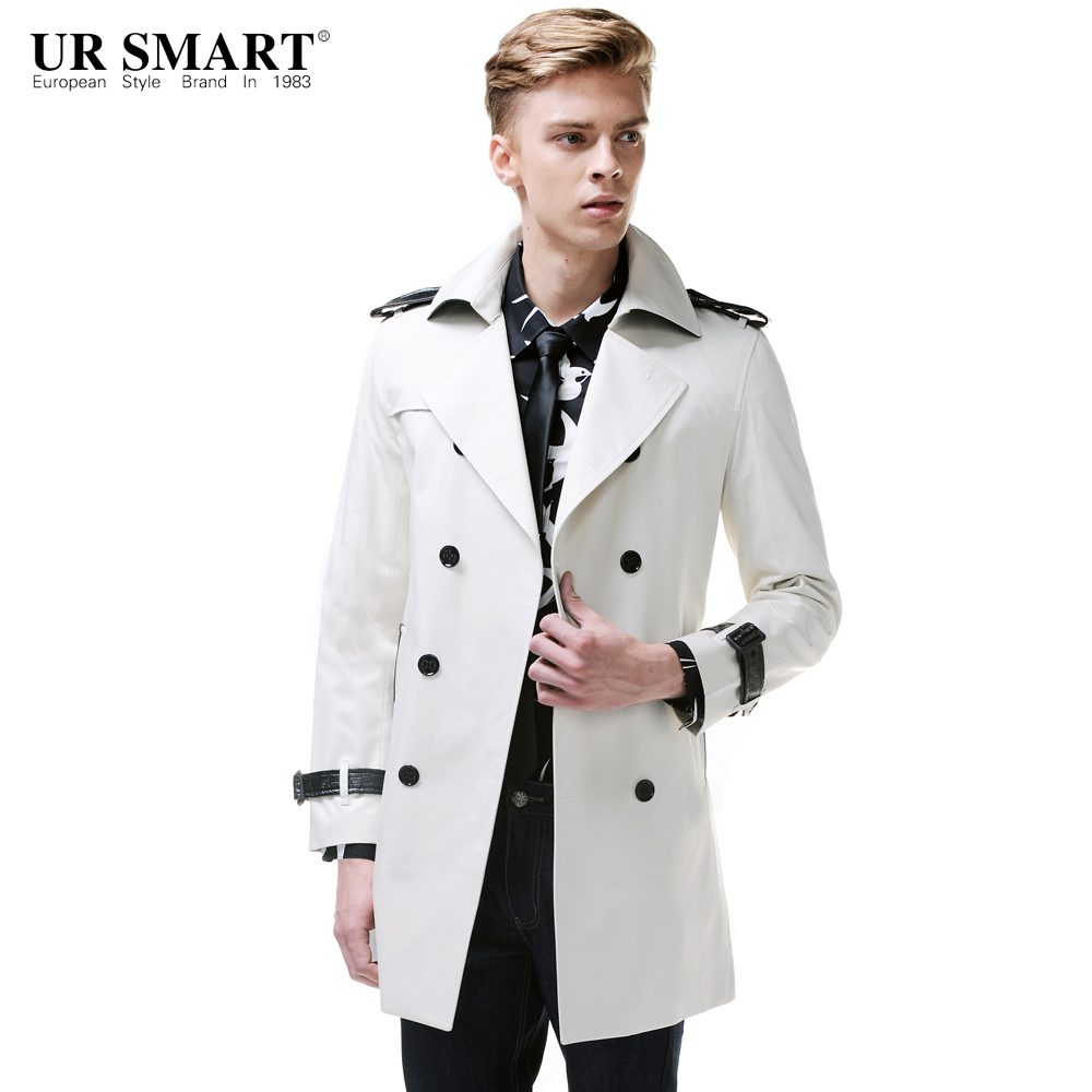 5f396913b54 URSMART New arrival double-breasted men s windbreaker long cotton in rice  white male trench coat