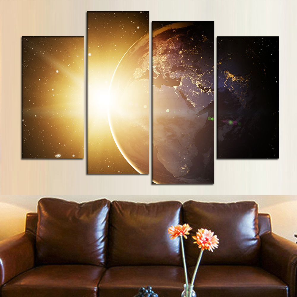 4 Pieces Framed Wall Art Canvas Sunlight Painting Planet Earth Poster Space Picture HD Canvas Print Custom