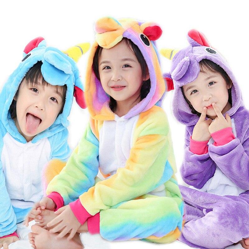 Kinder pyjamas einhorn 2018 mädchen pijama de unicornio infantil unicorne warm jungen Winter Tier Nachtwäsche Kinder unicorno