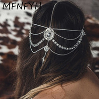 MFNFYH Crystal Waterdrop Forehead Headband Bridal Wedding Hair Jewelry Accessories Gold Silver Color Tassel Head Chain