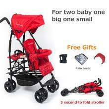 Kinderwagon twin double baby stroller big light folding