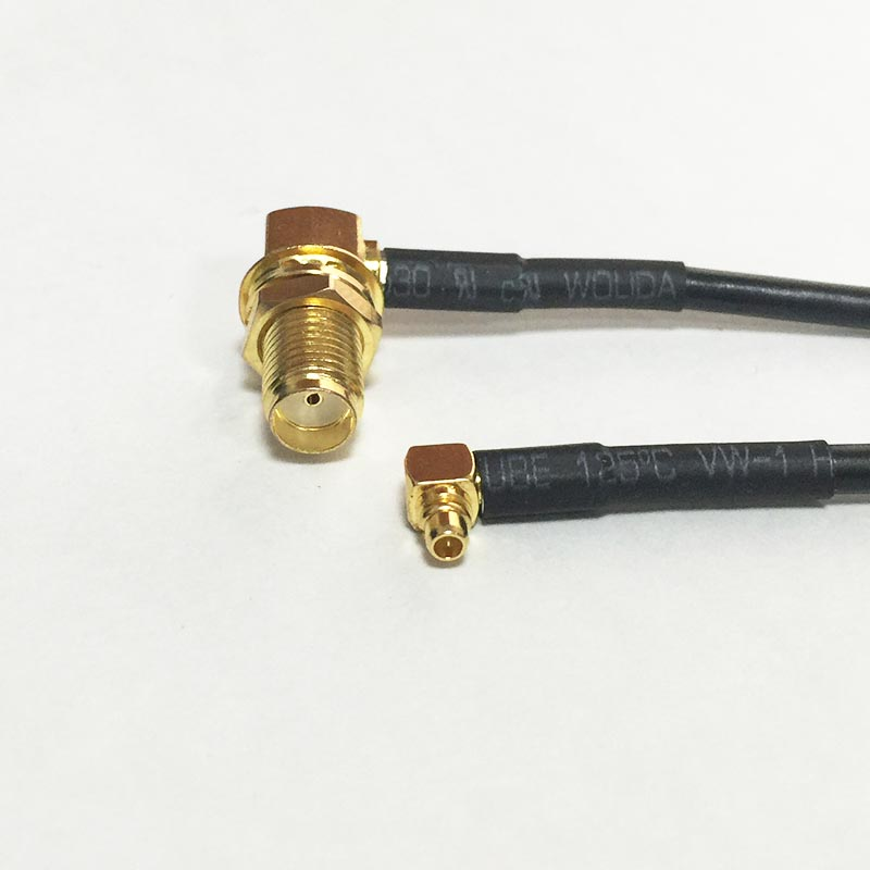 2PCS New Connector SMA Female Jack nut Right Angle Switch MMCX Male Plug Right Angle RG174 Cable 20CM 8 Adapter Wholesale