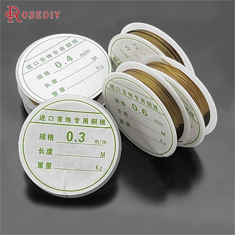 (31183)2 рулона от 0,1 мм до 1 мм Античная бронзовая металлическая медная проволока, очень прочная, может изготовить аксессуары для ювелирных изд...