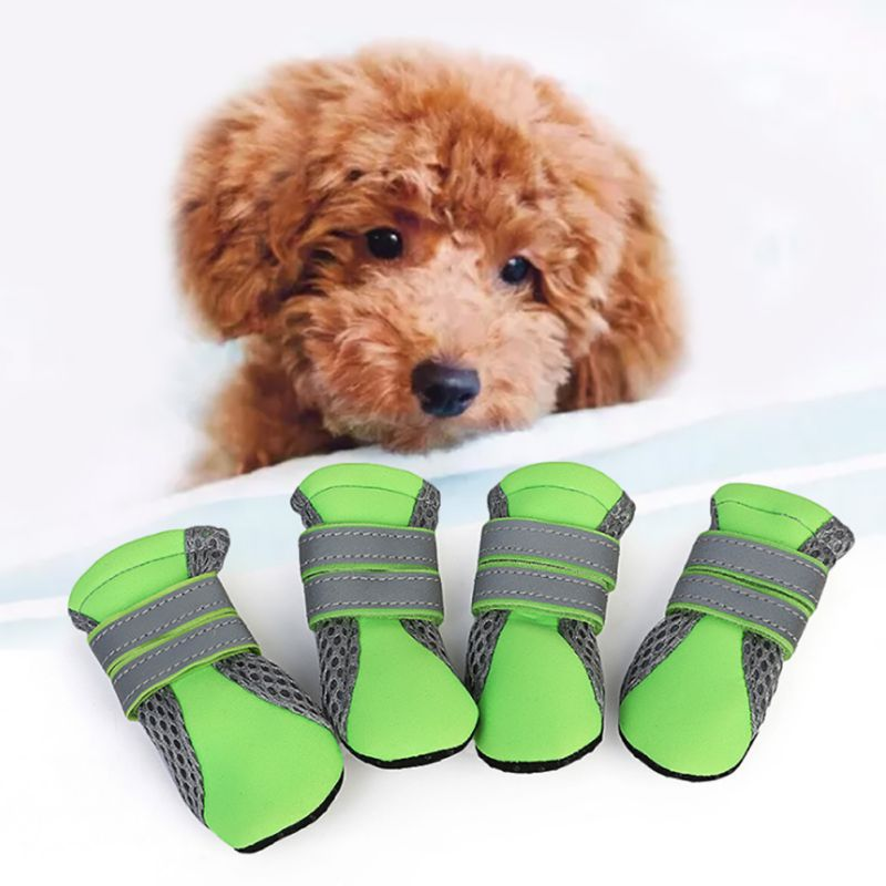 4pc Dogs Shoes Reflective Booties Shoes With Rubber Sole