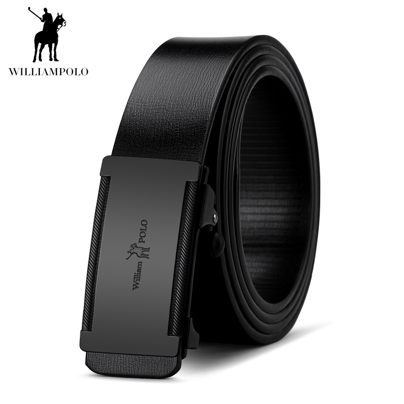 Image 3 - WILLIAMPOLO Slim Thin Belt Automatic Buckle Metal Fashion Men Real Leather Male Cowskin Belt Business Casual Gift for Husband-in Men's Belts from Apparel Accessories on AliExpress