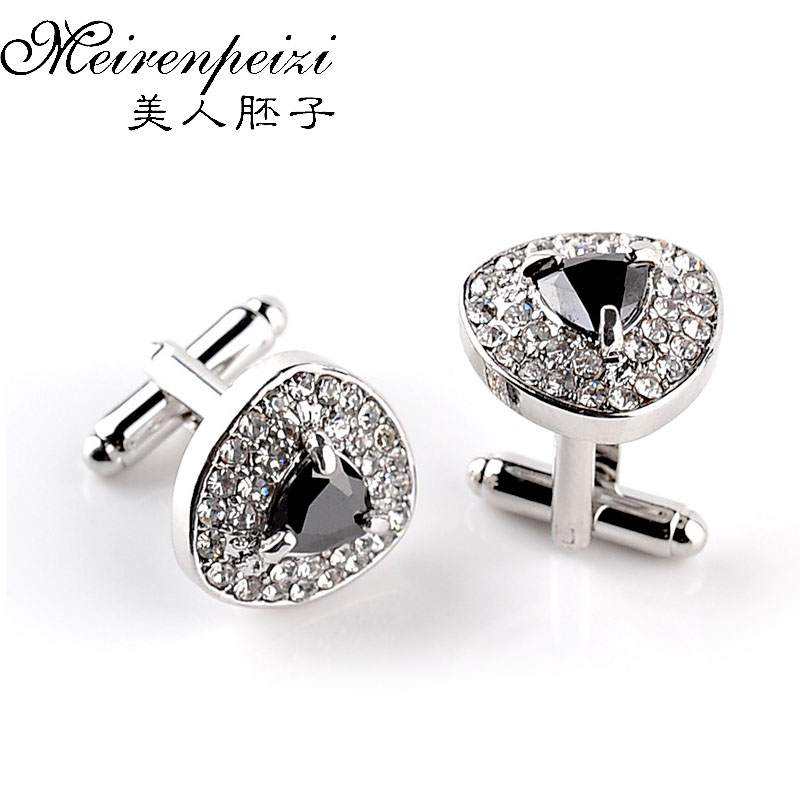 Personalized Luxury Cufflinks For Mens Women Gifts Designed Purple White Black Zircon Crystal Wedding Brand Cuff Buttons
