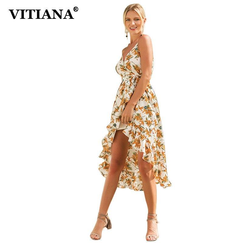 VITIANA Women Beach Casual Midi Dress Female 2018 Summer White Floral Print  Sleeveless V-Neck Elegant Sexy Party Dresses b13744ea15