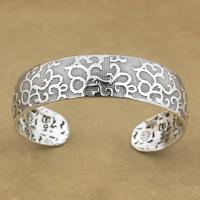 999 Pure Silver Flower Charm Blessing Bracelet Bangle 9A016 Fits wrist: 6.1 ~ 7.3