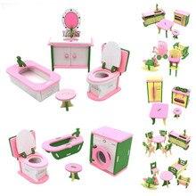 Игрушечный миниатюрный домик, деревянная мебель, кукольный домик, аксессуары, игрушки, деревянная мебель, набор кукол, детская комната для детей, игровая игрушка