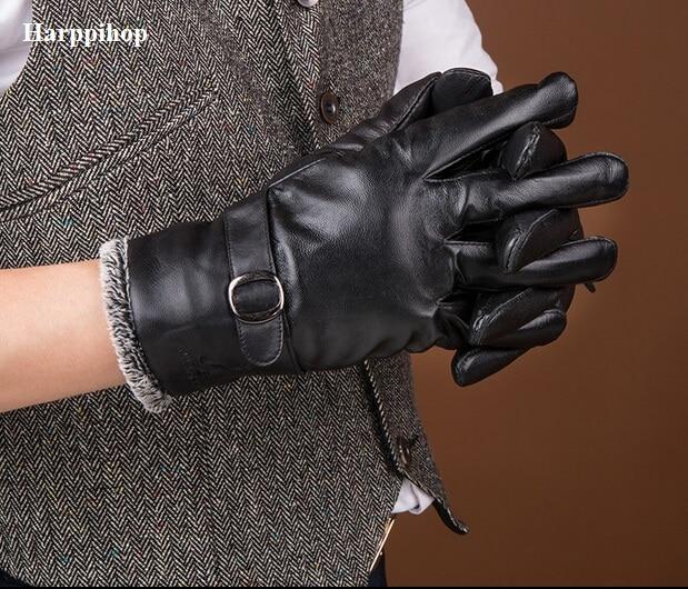 harppihop winter genuine leather gloves men sheepskin black finger gloves 2017 new arrival. Black Bedroom Furniture Sets. Home Design Ideas