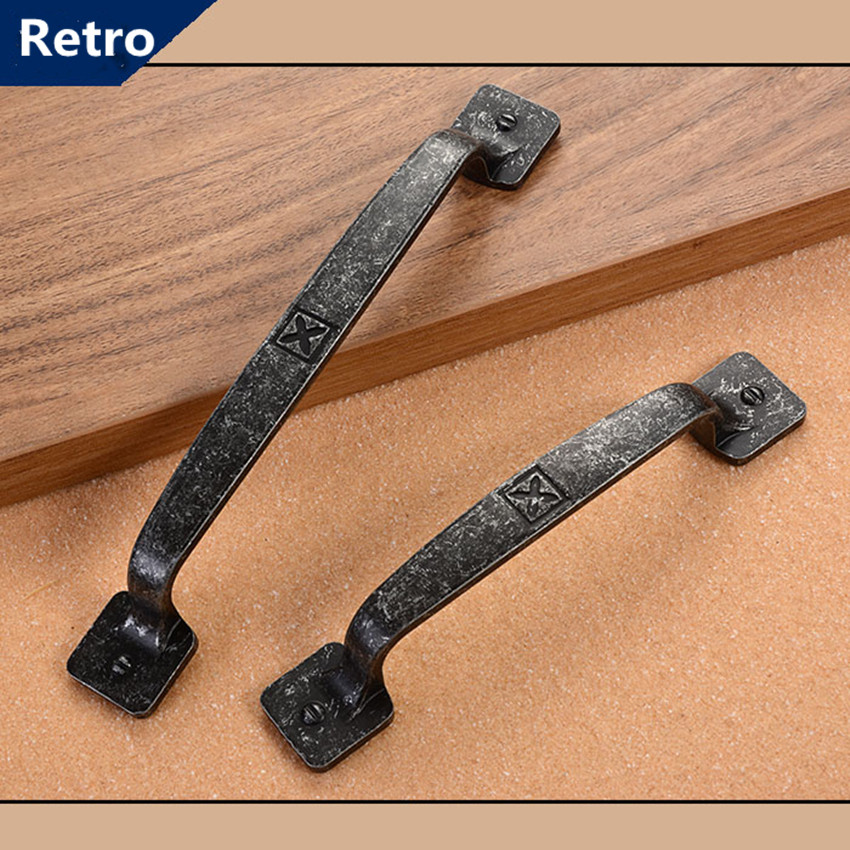 96mm 128mm retro old furniture handle antique iron kitchen cabinet cupboard door handle black antique dresser drawer pull knob drawer knob pull handle antique brass furniture decoration knob bronze kitchen cabinet dresser cupboard pull knob handle js343