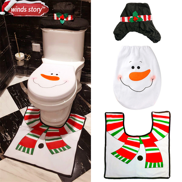 Christmas Bathroom Products 3pcs Set Xmas Decoration White Snowman Toilet Seat Cover And Rug