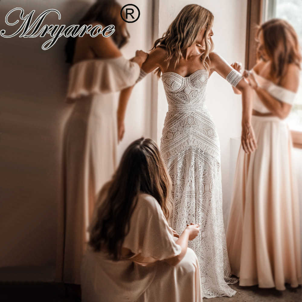 Mryarce 2019 Luxury Exclusive Lace Mermaid Wedding Dress Strapless Love Spell Boho Wedding Chic Bridal Gowns