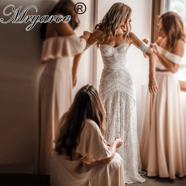 Mryarce 2019 luksusowa ekskluzywna koronkowa suknia ślubna syrenka bez ramiączek miłość zaklęcie boho weselny Chic suknie ślubne