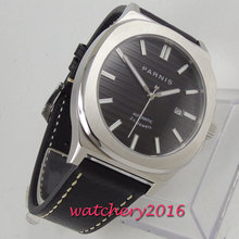 цена new arrive 44mm PARNIS white dial Automatic mens watch solid case Sapphire Glass Luminous Hands Miyota movement Leather strap онлайн в 2017 году