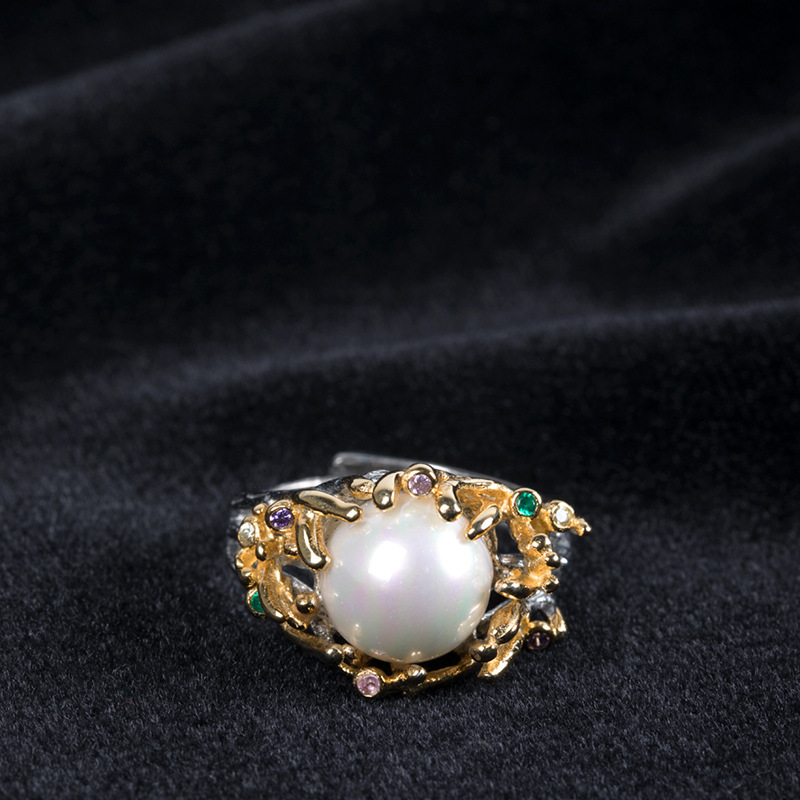 Silver Fan Design Micro S925 Pure Silver Inlay Zircon Ring Archaize Style Blooming Flowers Shell Pearl Has Ring Opening simple faux zircon opening ring for women