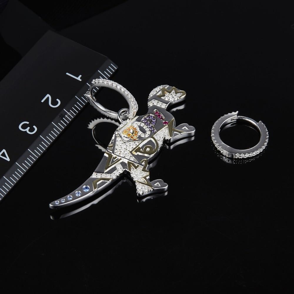 Image 2 - MeiBaPJ 925 Sterling Silver Multicolor Dinosaur Cubic Zirconia  Asymmetric Pop Rexy Dino Earrings Women  April New JewelryDrop  Earrings