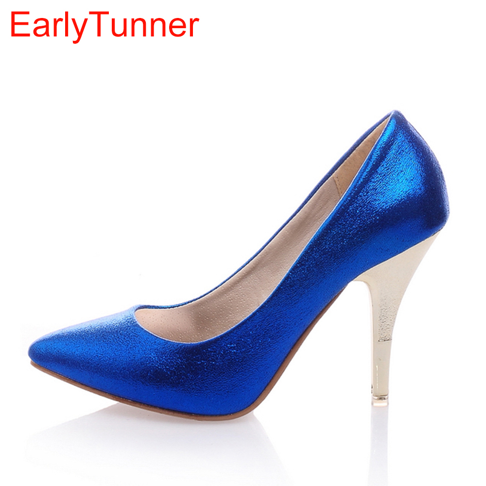 New Hot Fashion Elegant Gold Silver Red Blue High Heels Women Nude Pumps Ladies Shoes A33-6 Comfortable Plus Big Size 4 12 47 armoire new glossy sexy women nude pumps blue pink purple white high heels ladies formal dress shoes am 9 plus big size 12 30 48