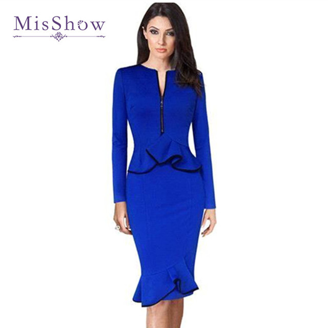 Misshow 2017 Elegant Long Sleeve Vestidos Sheath Party Dresses Royal Blue Pencil Office Dress Robe Oxl1796