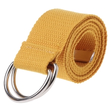 Teenager Boys Girls Students Double Ring Buckle Waist Belt Canvas Solid Color