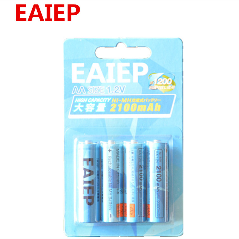 4pcs EAIEP 2a AA rechargeable battery 1.2V AA 1600mAhNi-MH Pre-charged Rechargeable Battery 2A Baterias for Camera