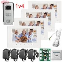 1v4 Apartment Intercom Phone/with Weatherproof 7 Inch Video Door Phone IR Night Doorbell Camera /Unlock/Monitor/Video function