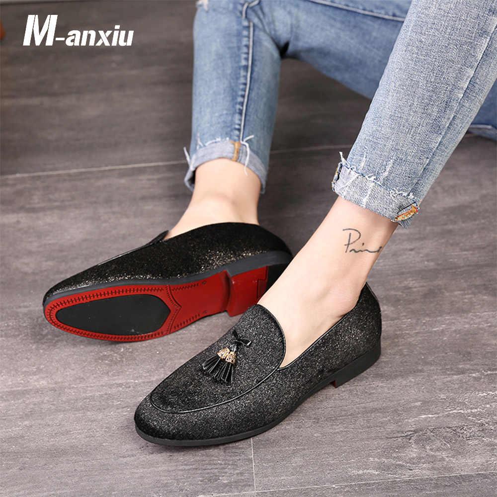 d77c3d664fa M-anxiu Fashion Tassel Fringe Red Bottom Casual Shoes Mens Low Heel Slip-on