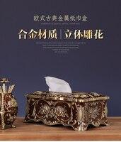 Металл Европейский styltissue Box Творческий роскошный насосная бумажная коробка гостиной обеденный стол бытовой Американский Ретро бумажная ко
