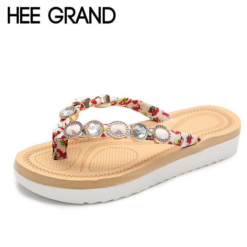 HEE GRAND Summer Flip Flops Platform Shoes Woman Slip On Gladiator Slides Beaded Flats Casual Women Shoes Creepers XWZ3314 hee grand 2017 creepers summer platform gladiator sandals casual shoes woman slip on flats fashion silver women shoes xwz4074