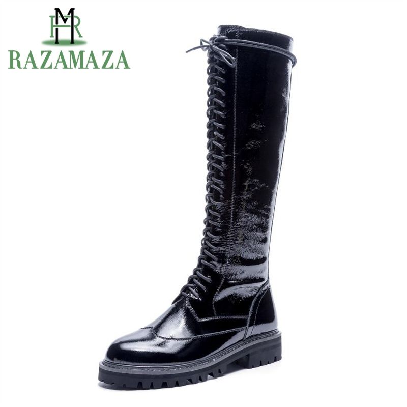 RAZAMAZA Women Real Leather Knight Boots Knee High Cross Tied Thick Heels Casual Spring And Autumn Daily Botas Mujer Size 34-40RAZAMAZA Women Real Leather Knight Boots Knee High Cross Tied Thick Heels Casual Spring And Autumn Daily Botas Mujer Size 34-40