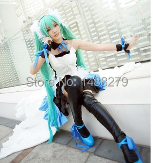 Anime Vocaloid Hatsune 7th Dragon 2020 Miku Cosplay Costume Gorgeous Blue Dress Halloween Costumes for Women