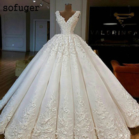 2019 Royal Quality Luxury Wedding Dress Elegant Beautiful Ball Gown Flowers Floor Length Lace Up Wedding Dresses
