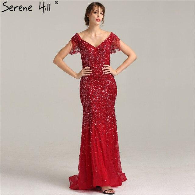 Boat Neck Wine Red Mermaid Elegant Evening Dress Beading Sequined ...