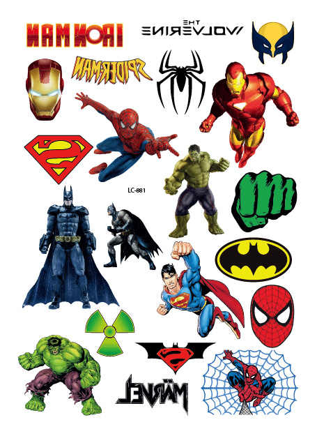 Rocooart Cartoon Super Hero Fake Tattoo Taty Iron Spider Bat Man Tatouage Body Art Temporary Tattoo Stickers For Child Tatuagem